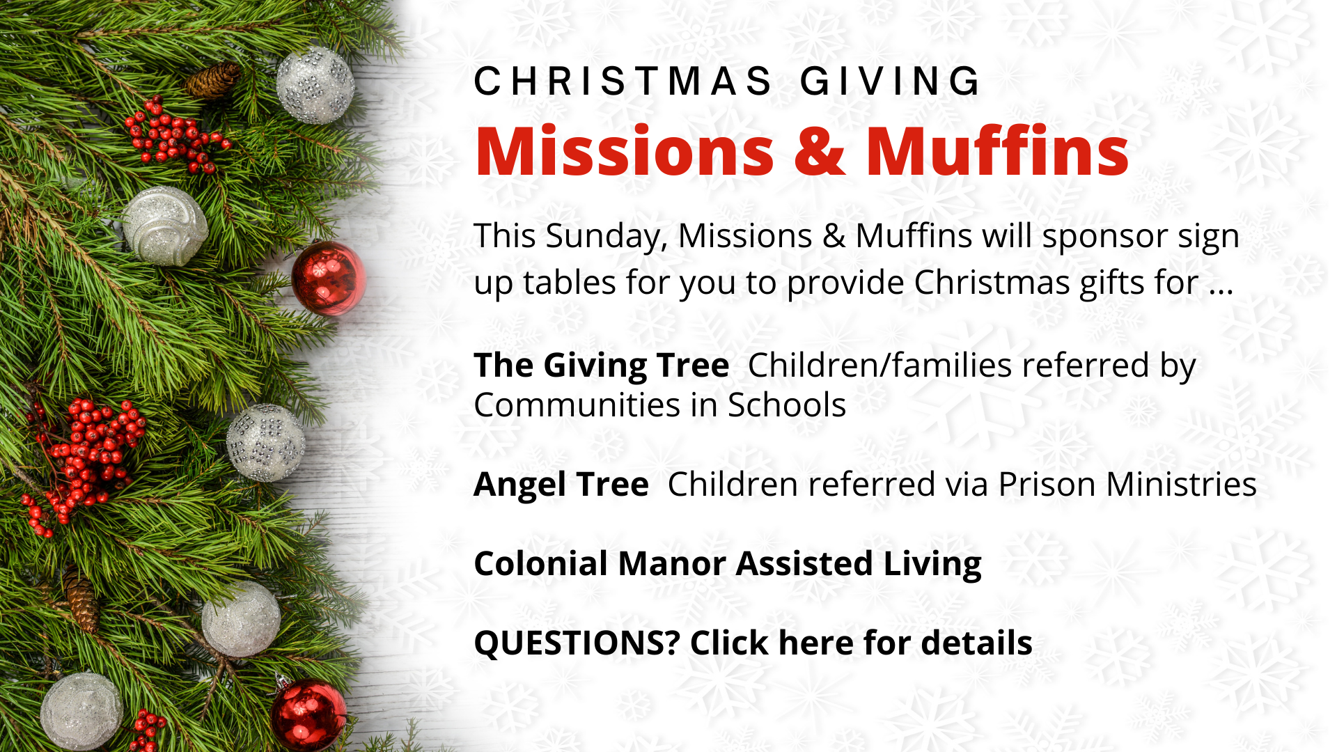 Missions & Muffins Christmas Giving